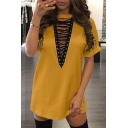 Round Neck Short Sleeve Lace Up Front Plain Mini T-Shirt Dress