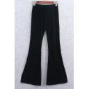 Women's Casual Bell Cuffs Elastic Waist Plain Velvet Pants