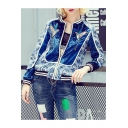 Long Sleeve Birds Embroidered Zip Placket Stylish Baseball Jacket