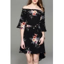 Off The Shoulder Half Sleeve Retro Floral Printed Tie Waist High Low Hem Asymmetrical Dress