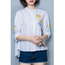 Floral Embroidered Half Sleeve Buttons Down High Low Hem Shirt