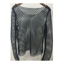 New Fashion Hot Round Neck Hollow Out Mesh Pullover Plain T-Shirt