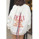 Long Sleeve Letter Embroidered Zip Placket Casual Baseball Coat