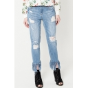 New Fashion Ripped Fringe Trim Skinny Denim Pants