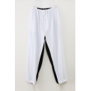 Leisure Loose Black and White Color Block Elastic Waist Sport Pants