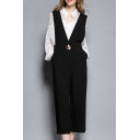 Plunge Neck New Fashion Leisure Casual Wide Legs Plain Jumpsuits