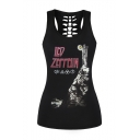 Letter Printed Scoop Neck Cut Out Back Pullover Sports Tank Top