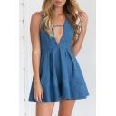 Women's Plunge V-Neck Sleeveless Crisscross Back Plain Denim Mini Dress