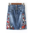 High Rise Single Breasted Floral Embroidered Denim Mini Pencil Skirt