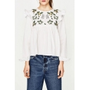 Floral Embroidered Ruffle Hem Round Neck Long Sleeve Leisure Pullover Blouse