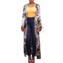 Floral Printed Long Sleeve Chiffon Longline Open Front Beach Coat