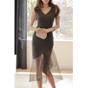Summer's New Arrival Plunge Neck Plain Sheer Mesh Patched Hem Midi Bodycon Dress