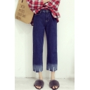 New Arrival Ombre Cuff High Rise Basic Straight Legs Capri Jeans