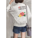 Letter Floral Printed Back Stand Up Collar Long Sleeve Single Breasted Baseball Jacket