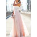 Glamorous Women's Lace Mesh Patchwork Sleeveless Maxi Party Dress