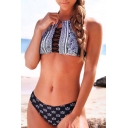 Sexy Hollow Out Crisscross Front Halter Tied Back High Waist Printed Bikinis