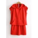 Fashion Hooded Sleeveless Letter Printed Sweatshirt with Elastic Waist Mini Skirt Plain Co-Ords