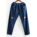 Elastic Waist Bow Bear Embroidered Casual Leisure Jeans with Pockets