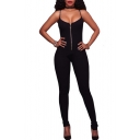 Spaghetti Straps New Sexy Zip Fly Plain Open Back Plain Skinny Jumpsuits