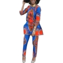 Casual African Tribal Printed Color Block Half Sleeve Two Pieces Sets