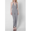 New Fashion Polka Dot Printed Halter Neck Open Back Casual Jumpsuits