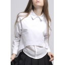 New Design Long Sleeve Lapel Collar Zip Back Plain Cotton Pullover Blouse