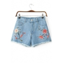 High Waist Retro Floral Embroidered Slit Side Fringe Trim Denim Shorts