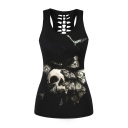 Butterfly Skull Pattern Hollow Out Back Chic Scoop Neck Slim Tank Top