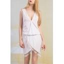 Vintage Plunge V-Neck Tassel Sleeveless Asymmetric Hem Plain Dress