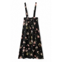 Floral Printed Zip Back Buttons Design A-Line Midi Overall Dress