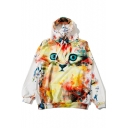 Cartoon Cat Printed Long Sleeve Casual Loose Leisure Hoodie