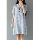Casual Short Sleeve Scoop Neck Striped Mini T-Shirt Dress