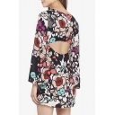 Cut Out Back Round Neck Long Sleeve Retro Floral Printed Mini Pencil Dress