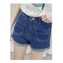 Women's Vertical Pockets Roll-Up Hem High Waist Plain Basic Denim Shorts