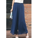Summer Simple Plain Elastic Waist Loose Leisure Chiffon Wide Legs Pants