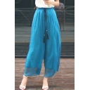 Summer New Arrival Elastic Waist High Rise Leisure Plain Wide Legs Pants