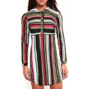 Color Block Striped Printed Lapel Collar Long Sleeve Buttons Down Shirt Dress
