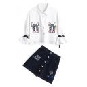 Cartoon Embroidered Lapel Collar Shirt Top Fashion A-Line Mini Denim Skirt Set