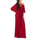 Sexy Off the Shoulder Batwing Half Sleeve Belt Waist Plain Maxi Dress