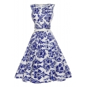 Glamorous Sleeveless White and Blue Color Block Printed Zip Side Midi Swing Dress