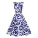 Glamorous Sleeveless White and Blue Color Block Printed Zip Side Midi Swing Dress