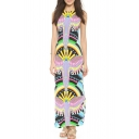 Women's Color Block Printed Sleeve Round Neck Maxi Dress