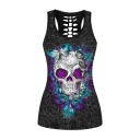 Hollow Out Back Butterfly Skull Printed Scoop Neck Fitted Tank Top