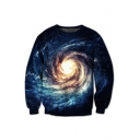 New Arrival Galaxy Whirlpool Pattern Round Neck Long Sleeve Sweatshirt