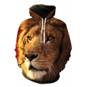 Unisex 3D Lion Printed Long Sleeve Hoodie Sweatshirt