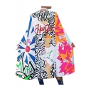 New Fashion Graffiti Printed Open Front Sleeveless Longline Cape Coat