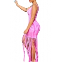 New Fashion Tie Dye Scoop Neck Sleeveless Tassel Hem Maxi Bodycon Tank Dress