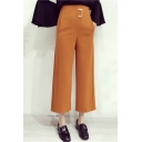 New Fashion Plain Leisure Zip Back High Rise Wide Legs Basic Pants