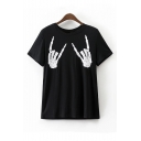 Fashion Skeleton Hands Printed Short Sleeve Round Neck Casual Tee