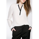 OL Style Contrast V-Neck Long Sleeve Plain Chiffon Blouse